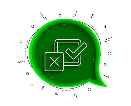 Checkbox line icon. Chat bubble with shadow. Survey choice sign. Business review symbol. Thin line checkbox icon. Vector Illusztráció