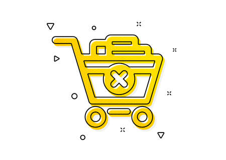 Online buying sign. Remove Shopping cart icon. Supermarket basket symbol. Yellow circles pattern. Classic remove purchase icon. Geometric elements. Vector