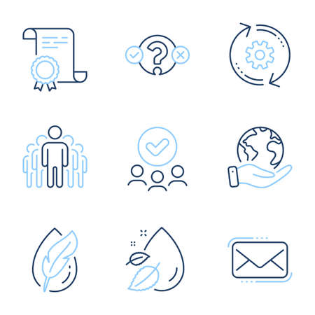 Hypoallergenic tested, Group and Water drop line icons set. Diploma certificate, save planet, group of people. Messenger mail, Quiz test and Cogwheel signs. Feather, Managers, Serum oil. Vector