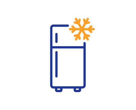 Single chamber refrigerator line icon. Fridge sign. Freezer storage symbol. Colorful thin line outline concept. Linear style refrigerator icon. Editable stroke. Vector Vettoriali