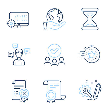 Seo, Time and Engineering line icons set. Diploma certificate, save planet, group of people. Timer, Reject certificate and Conversation messages signs. Search engine, Clock, Construction. Vector