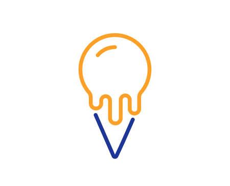 Ice cream cone line icon. Vanilla sundae waffle cone sign. Frozen summer dessert symbol. Colorful thin line outline concept. Linear style ice cream icon. Editable stroke. Vector Vettoriali