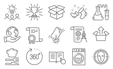 Set of Business icons, such as Send box, Trophy. Diploma, ideas, save planet. Open box, Divider document, 360 degrees. Chemistry lab, Smartphone broken, Santa boots. Vector