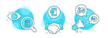 Seo statistics, Cogwheel dividers and Privacy policy line icons set. Handshake deal, research and promotion complex icons. Ab testing sign. Analytics chart, Settings, Checklist. Phone test. Vector