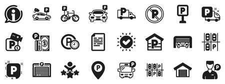 Car garage, Valet servant and Paid transport parking icons. Parking icons. Video monitoring, Bike or Car park and Truck or Bus transport garage. Money payment, Map pointer and Free park. Vector Illusztráció