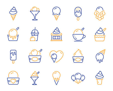 Ice cream line icons. Vanilla sundae, frozen yogurt, bubble waffle. Sweet dessert food, milkshake with ice cream, sundae icons. Smoothie drink, frozen coffee, sorbet wafer. Vector