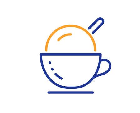 Coffee cup with ice cream line icon. Vanilla sundae sign. Frozen summer dessert symbol. Colorful thin line outline concept. Linear style ice cream icon. Editable stroke. Vector