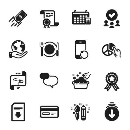 Set of Business icons, such as Recovery phone, Target path. Certificate, approved group, save planet. Pie chart, Download file, Credit card. Chat message, Hand washing, Calendar. Vector Vectores