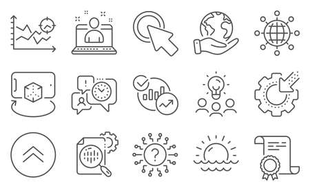 Set of Science icons, such as Seo stats, Statistics. Diploma, ideas, save planet. Augmented reality, Seo analysis, Click here. International globe, Swipe up, Best manager. Vector