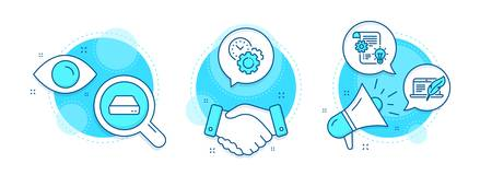 Cogwheel, Time management and Mini pc line icons set. Handshake deal, research and promotion complex icons. Copyright laptop sign. Idea bulb, Settings, Computer. Writer device. Science set. Vector