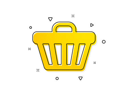 Online buying sign. Shopping cart icon. Supermarket basket symbol. Yellow circles pattern. Classic shop cart icon. Geometric elements. Vector
