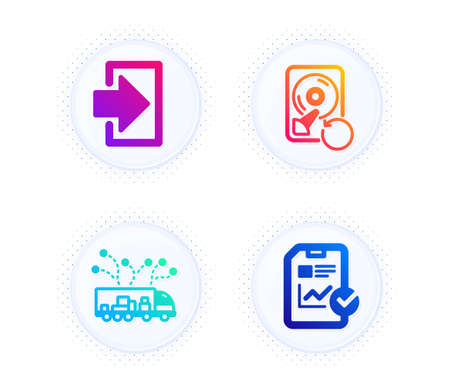 Truck delivery, Recovery hdd and Login icons simple set. Button with halftone dots. Report checklist sign. Logistics, Backup info, Sign in. Sales growth file. Technology set. Vector