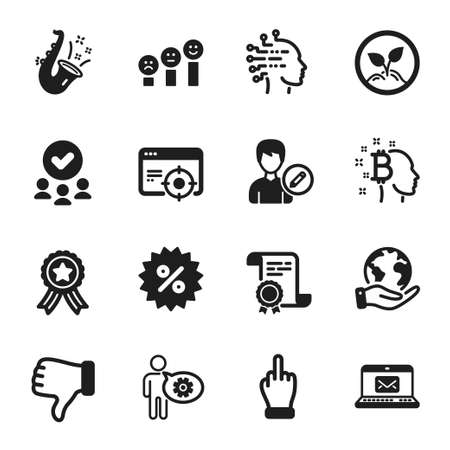 Set of Business icons, such as Discount, Jazz. Certificate, approved group, save planet. Startup, Artificial intelligence, Seo targeting. Middle finger, E-mail, Cogwheel. Vector