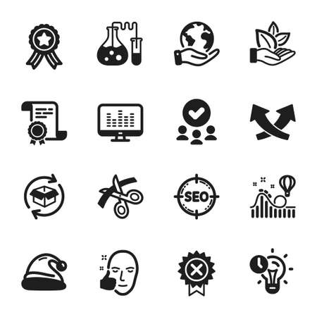 Set of Business icons, such as Return parcel, Seo. Certificate, approved group, save planet. Healthy face, Roller coaster, Scissors. Time management, Reject medal, Intersection arrows. Vector Vectores