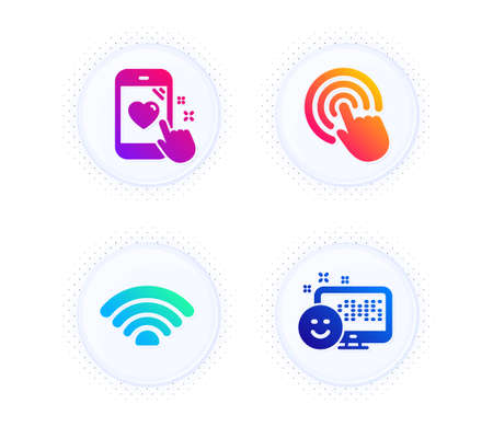 Wifi, Click and Heart rating icons simple set. Button with halftone dots. Smile sign. Wifi internet, Cursor pointer, Phone feedback. Positive feedback. Technology set. Gradient flat wifi icon. Vector 向量圖像