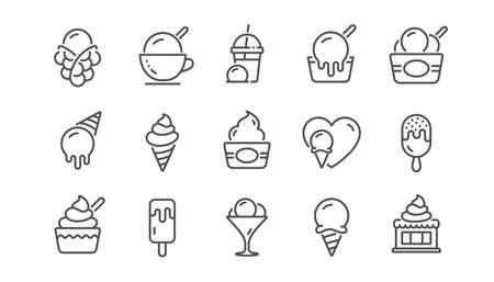 Ice cream line icons set. Frozen yogurt, Vanilla sundae, bubble waffle. Sweet dessert food, milkshake with ice cream, sundae icons. Smoothie drink, frozen coffee, sorbet wafer. Linear set. Vector