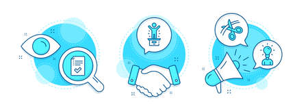 Education, Winner podium and Scissors line icons set. Handshake deal, research and promotion complex icons. Approved checklist sign. Human idea, First place, Cutting ribbon. Accepted message. Vector