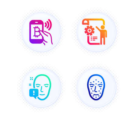 Bitcoin pay, Face attention and Settings blueprint icons simple set. Button with halftone dots. Face biometrics sign. Mobile payment, Exclamation mark, Engineering cogwheel. Facial recognition. Vector