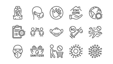 Coronavirus line icons set. Medical mask, washing hands hygiene, protective glasses. Stay home, hands sanitizer, coronavirus epidemic mask icons. Covid-19 virus pandemic, no vaccine. Vector Vectores