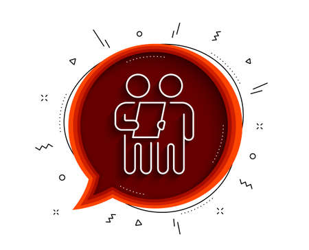Survey line icon. Chat bubble with shadow. Contract application sign. Agreement document symbol. Thin line survey icon. Vector