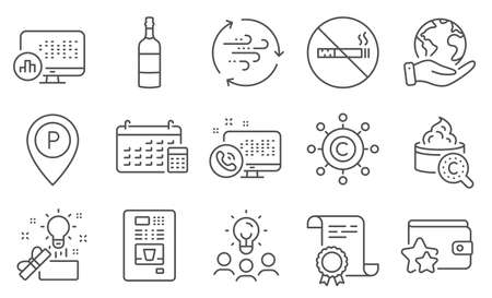 Set of Business icons, such as Loyalty program, Web call. Diploma, ideas, save planet. Coffee vending, Copywriting network, Brandy bottle. Wind energy, No smoking, Calendar. Vector