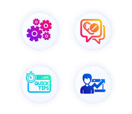 Cogwheel, Quick tips and Medical drugs icons simple set. Button with halftone dots. Success business sign. Engineering tool, Helpful tricks, Medicine pills. Growth chart. Science set. Vector
