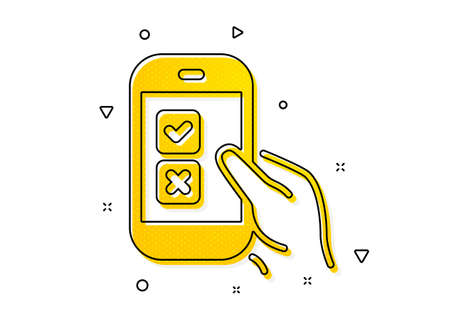 Select answer sign. Mobile survey icon. Business interview symbol. Yellow circles pattern. Classic mobile survey icon. Geometric elements. Vector