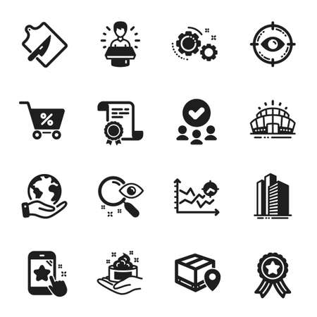 Set of Business icons, such as Star rating, Gears. Certificate, approved group, save planet. Special offer, Seo analysis, Skyscraper buildings. Search, Skin care, Cutting board. Vector