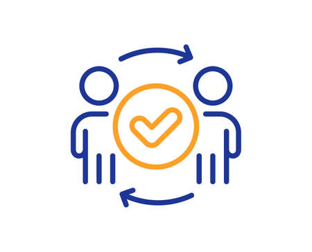 Approved teamwork line icon. Accepted team sign. Human resources symbol. Colorful thin line outline concept. Linear style approved teamwork icon. Editable stroke. Vector