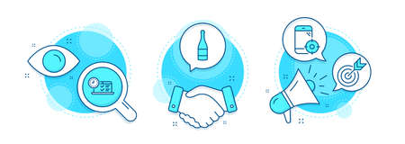 Online test, Champagne bottle and Target line icons set. Handshake deal, research and promotion complex icons. Seo phone sign. Examination, Anniversary alcohol, Targeting. Vector