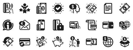 Update credit card, Contactless payment and Piggy bank icons. Money wallet icons. Online payment, Dollar exchange and Fast money send. Private pay, Blocked credit card and Wallet. Vector