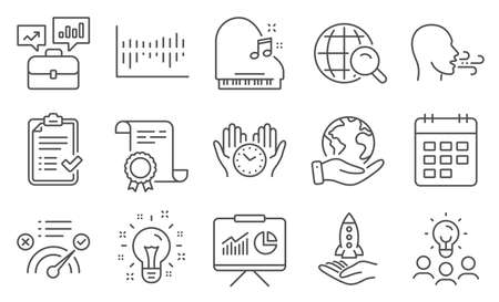 Set of Education icons, such as Safe time, Presentation. Diploma, ideas, save planet. Idea, Piano, Internet search. Business portfolio, Breathing exercise, Calendar. Vector
