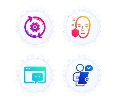 Face protection, Cogwheel and Seo message icons simple set. Button with halftone dots. Customer survey sign. Secure access, Engineering tool, Support chat. Contract. Science set. Vector