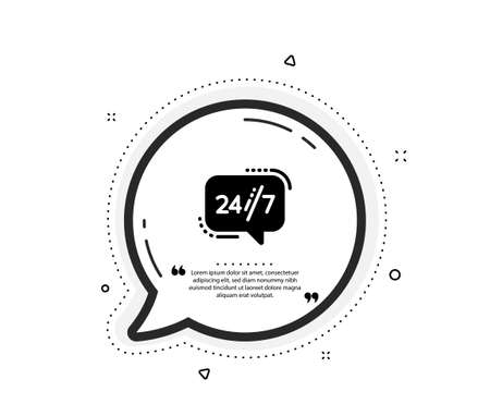 24/7 service icon. Quote speech bubble. Call support sign. Feedback chat symbol. Quotation marks. Classic 24/7 service icon. Vector Vettoriali