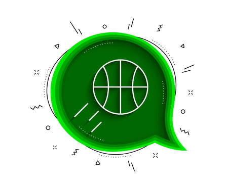 Basketball line icon. Chat bubble with shadow. Sport ball sign. Competition symbol. Thin line basketball icon. Vector
