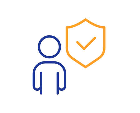 Security shield line icon. Body guard sign. Private protection symbol. Colorful thin line outline concept. Linear style security icon. Editable stroke. Vector Banque d'images - 149594742