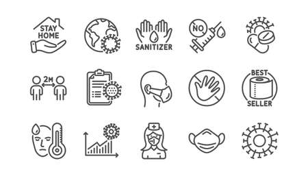 Coronavirus line icons set. Washing hands hygiene, medical mask, protective glasses. Stay home, hands sanitizer, coronavirus epidemic mask icons. Vector