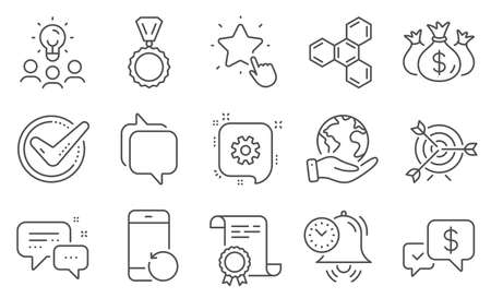 Set of Education icons, such as Target, Time management. Diploma, ideas, save planet. Cogwheel, Ranking star, Employees messenger. Check investment, Recovery phone, Confirmed. Vector  イラスト・ベクター素材