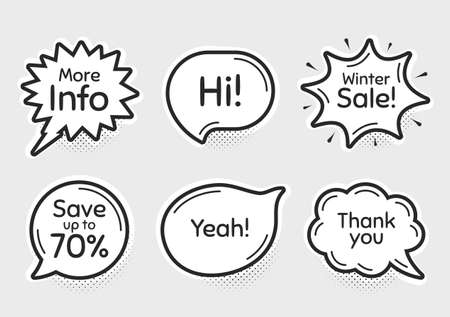 Comic chat bubbles. Winter sale, 70% discount and more info. Thank you, hi and yeah phrases. Sale shopping text. Chat messages with phrases. Drawing texting thought speech bubbles. Vector Banco de Imagens - 150108816
