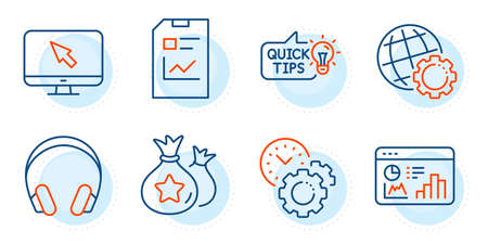 Time management, Headphones and Report document signs. Seo statistics, Loyalty points and Globe line icons set. Internet, Education idea symbols. Analytics chart, Money bags. Technology set. Vector