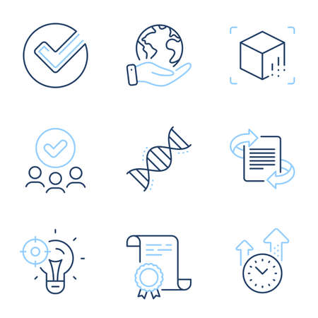 Chemistry dna, Verify and Seo idea line icons set. Diploma certificate, save planet, group of people. Marketing, Augmented reality and Time management signs. Vector