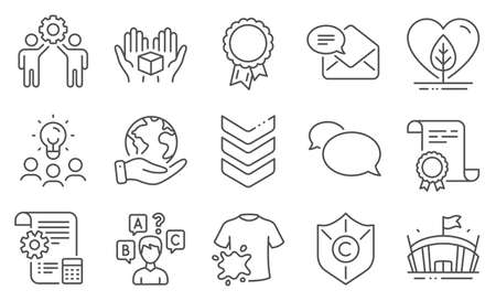 Set of Business icons, such as Shoulder strap, Copyright protection. Diploma, ideas, save planet. Employees teamwork, New mail, Quiz test. Settings blueprint, Local grown, Arena. Vector