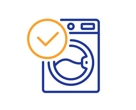 Washing machine line icon. Wash laundry sign. Washable cleaner symbol. Colorful thin line outline concept. Linear style washing machine icon. Editable stroke. Vector