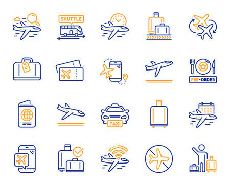 Airport line icons. Boarding pass, Baggage claim, Arrival and Departure. Connecting flight, tickets, pre-order food icons. Passport control, airport baggage carousel, inflight wifi. Vector