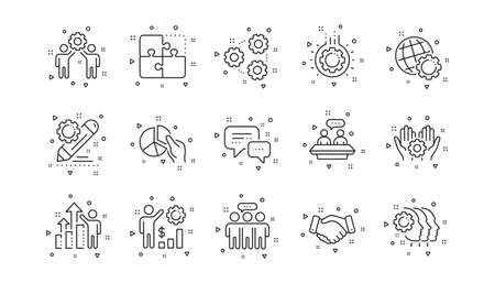 Business strategy, handshake and people collaboration. Employees benefits line icons. Teamwork, social responsibility, people relationship icons. Linear set. Geometric elements. Vector