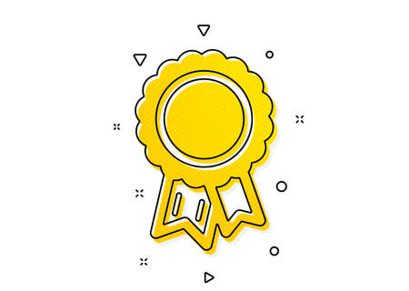 Winner medal sign. Success icon. Award reward symbol. Glory or Honor. Yellow circles pattern. Classic success icon. Geometric elements. Vector