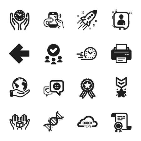 Set of Technology icons, such as Smile, Quick tips. Certificate, approved group, save planet. Safe time, Printer, Startup rocket. Fast delivery, Hold box, Winner medal. Vector Illusztráció