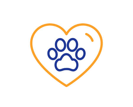 Pets care line icon. Veterinary clinic sign. Dog paw in heart symbol. Colorful thin line outline concept. Linear style pets care icon. Editable stroke. Vector
