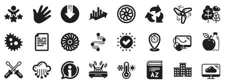 Turbine, Wind, Thermostat icons. Company building, Vocabulary, Profits timeline icons. Tree, Bacteria, Healthy food. Company chart, wind turbine. Cloud services, Timeline, Download. Vector Ilustração
