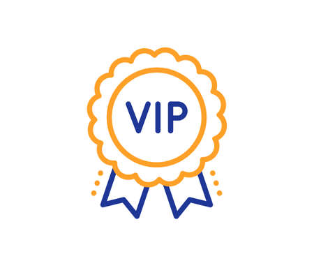 Vip award line icon. Very important person medal sign. Member club privilege symbol. Colorful thin line outline concept. Linear style vip award icon. Editable stroke. Vector